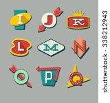 retro signs alphabet. letters...   Shutterstock .eps vector #338212943