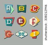 retro signs alphabet. letters...   Shutterstock .eps vector #338212946