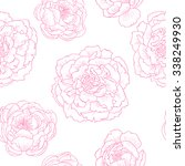 pink peonies on a white... | Shutterstock .eps vector #338249930