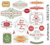 christmas frame  labels and... | Shutterstock .eps vector #338251178