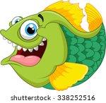 cartoon of green piranha | Shutterstock . vector #338252516