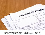 purchase order form on wooden...   Shutterstock . vector #338261546