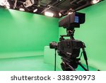 television studio with camera... | Shutterstock . vector #338290973