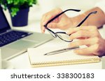 businessman's hands using... | Shutterstock . vector #338300183