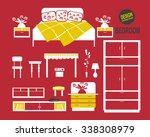 bedroom set on red background | Shutterstock .eps vector #338308979