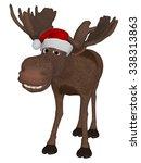cute cartoon moose with a... | Shutterstock . vector #338313863