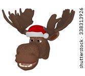 cartoon moose with a christmas... | Shutterstock . vector #338313926