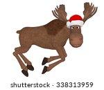 cute cartoon 3d moose with a... | Shutterstock . vector #338313959