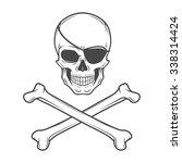 jolly roger with eyepatch logo...   Shutterstock .eps vector #338314424
