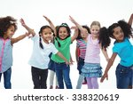 girls standing with arms spread ...   Shutterstock . vector #338320619