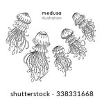 set of hand drawn jellyfish.... | Shutterstock .eps vector #338331668