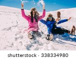 two girlfriends have fun and... | Shutterstock . vector #338334980