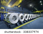 packed rolls of steel sheet ... | Shutterstock . vector #338337974