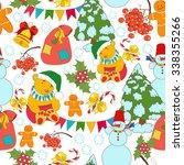 christmas seamless background...   Shutterstock .eps vector #338355266