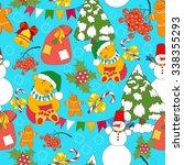 christmas seamless background... | Shutterstock .eps vector #338355293