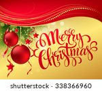 christmas greeting card.... | Shutterstock . vector #338366960