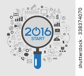 2016 text design on creative... | Shutterstock .eps vector #338374070