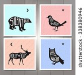 4 minimal christmas cards.... | Shutterstock .eps vector #338380946