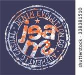 jeans rubber stamp  grunge... | Shutterstock .eps vector #338381510