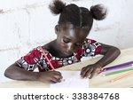 african schoolgirl drawing  ... | Shutterstock . vector #338384768