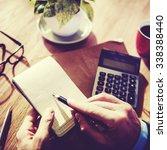 hands of businessman working... | Shutterstock . vector #338388440