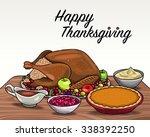 thanksgiving dinner | Shutterstock .eps vector #338392250