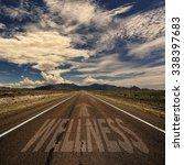 desert highway with the word... | Shutterstock . vector #338397683