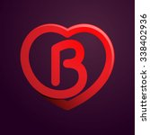 B Letter With Red Heart. Vecto...