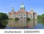 Stock photo hanover germany may new town hall in hanover on may new city hall rathaus and lake 338404994