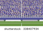 soccer field and crowd of blue... | Shutterstock .eps vector #338407934