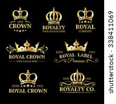 vector crown logos set. luxury... | Shutterstock .eps vector #338411069