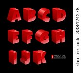 red shiny 3d solid bold font a... | Shutterstock .eps vector #338424278