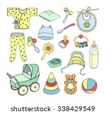 babies things and toys bottle... | Shutterstock .eps vector #338429549
