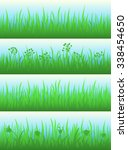set of four different grass... | Shutterstock .eps vector #338454650