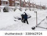 Man With A Snow Shovel. Car An...
