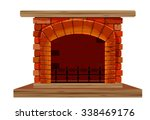 the old brick fireplace | Shutterstock .eps vector #338469176