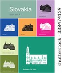 landmarks of slovakia. set of... | Shutterstock .eps vector #338474129