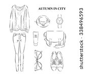 autumn collection of clothes on ... | Shutterstock .eps vector #338496593