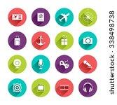 travel icons set in flat design ... | Shutterstock . vector #338498738