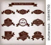 vintage set of labels.... | Shutterstock . vector #338498750