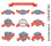 vintage set of labels with red... | Shutterstock . vector #338498780