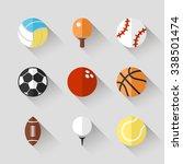 sport balls icon set   white... | Shutterstock . vector #338501474