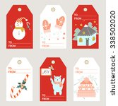 christmas tags. vector... | Shutterstock .eps vector #338502020