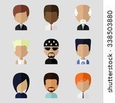 colorful avatars icons set in...