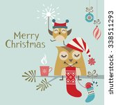christmas greeting card with... | Shutterstock .eps vector #338511293
