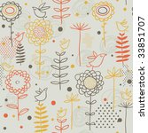 cartoon birds in flowers | Shutterstock .eps vector #33851707
