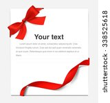paper sheet with a red ribbon... | Shutterstock .eps vector #338525618