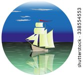 illustration of a sail ship at... | Shutterstock .eps vector #338554553