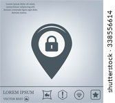 privacy lock icon  icon map pin. | Shutterstock .eps vector #338556614