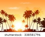 palms silhouettes at orange... | Shutterstock .eps vector #338581796